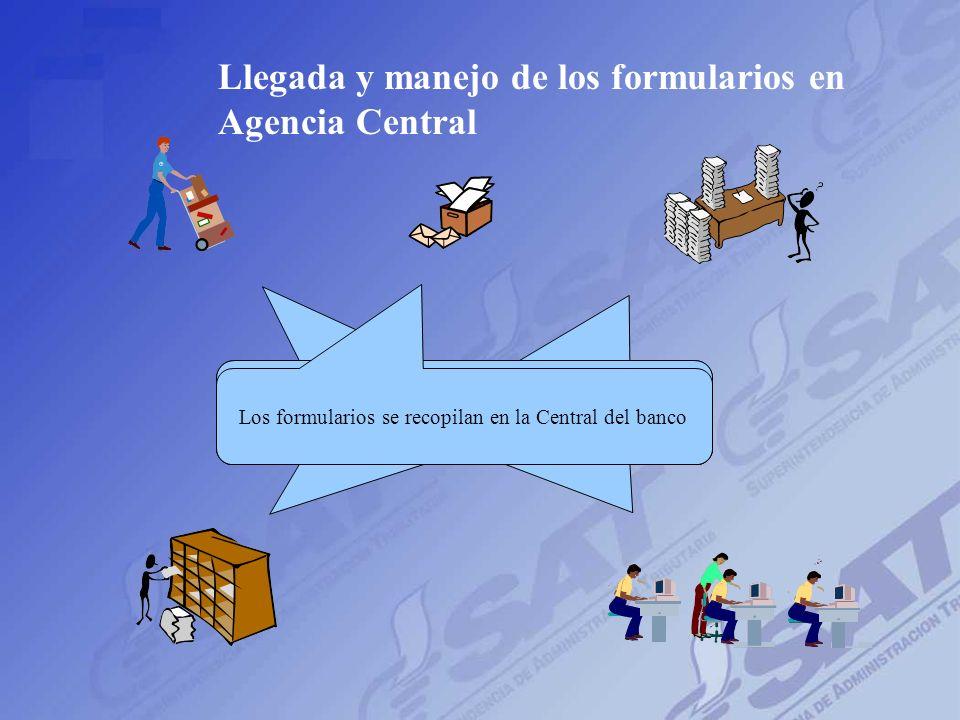 Agencia 1 Agencia 2 Agencia 3 Agencia n Agencia Central Los formularios van llegando a la central dependiendo de la ubicación geográfica, generalmente