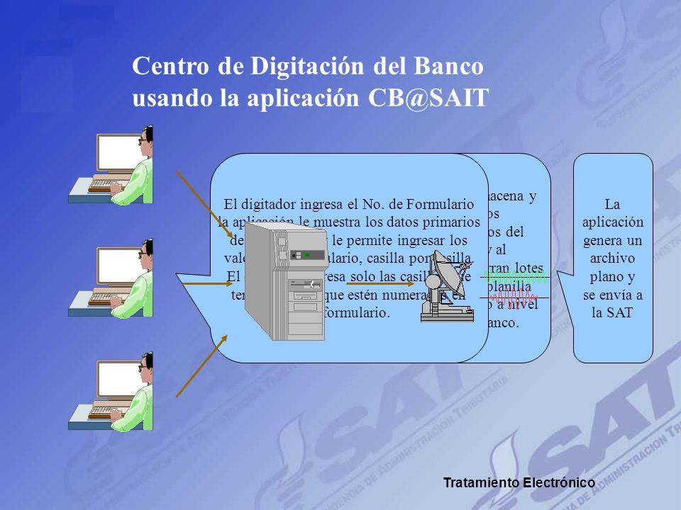 Centro de Digitación del Banco usando la aplicación CB@SAIT A cada digitador se le asigna un grupo de formularios provenientes de una agencia y de un
