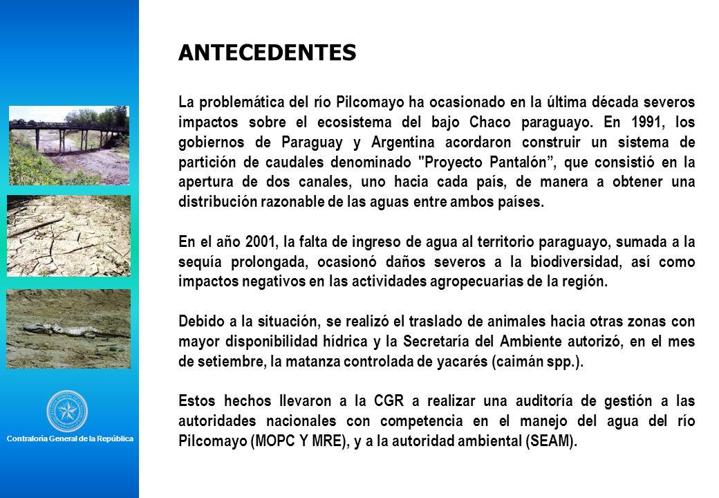 ANTECEDENTES La problemática del río Pilcomayo ha ocasionado en la última década severos impactos sobre el ecosistema del bajo Chaco paraguayo. En 199