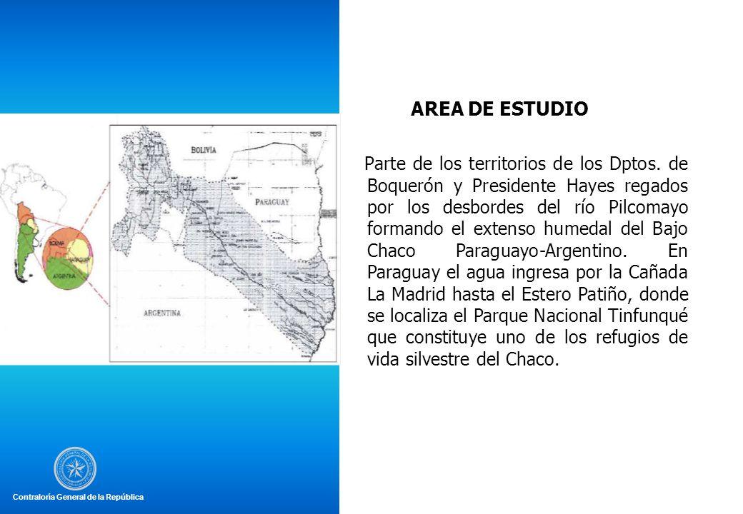 AREA DE ESTUDIO Parte de los territorios de los Dptos. de Boquerón y Presidente Hayes regados por los desbordes del río Pilcomayo formando el extenso