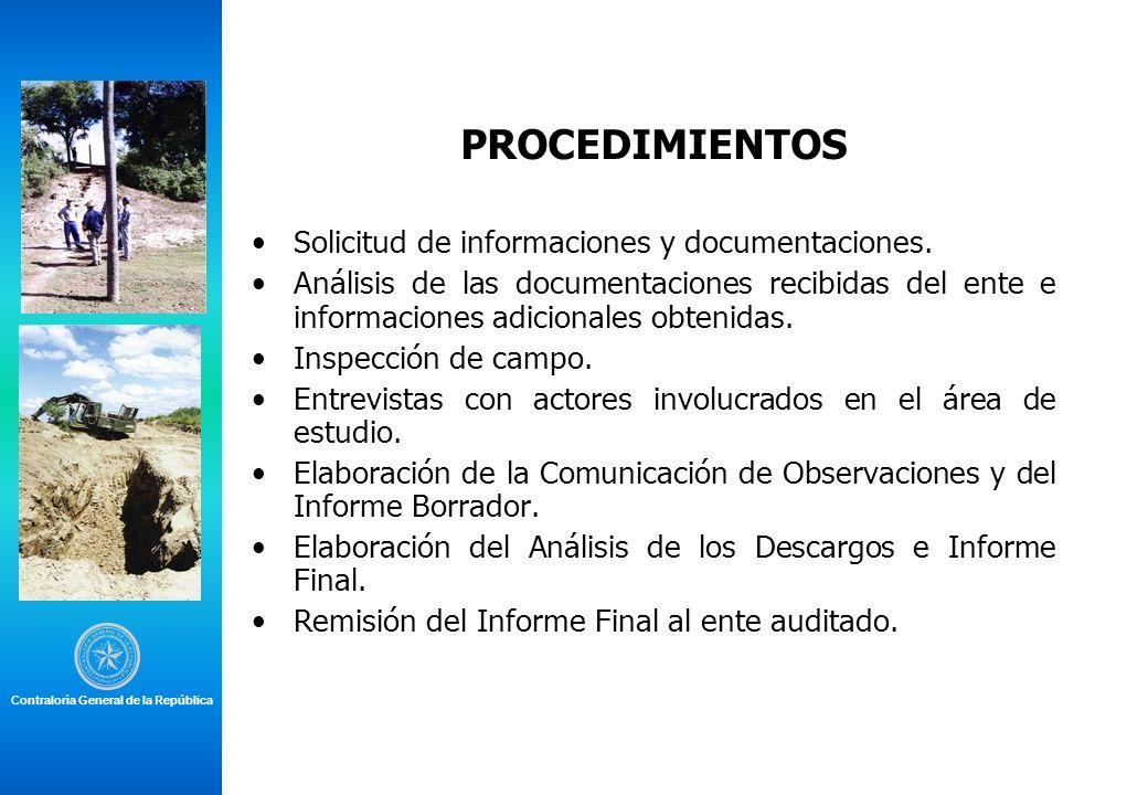PROCEDIMIENTOS Solicitud de informaciones y documentaciones. Análisis de las documentaciones recibidas del ente e informaciones adicionales obtenidas.