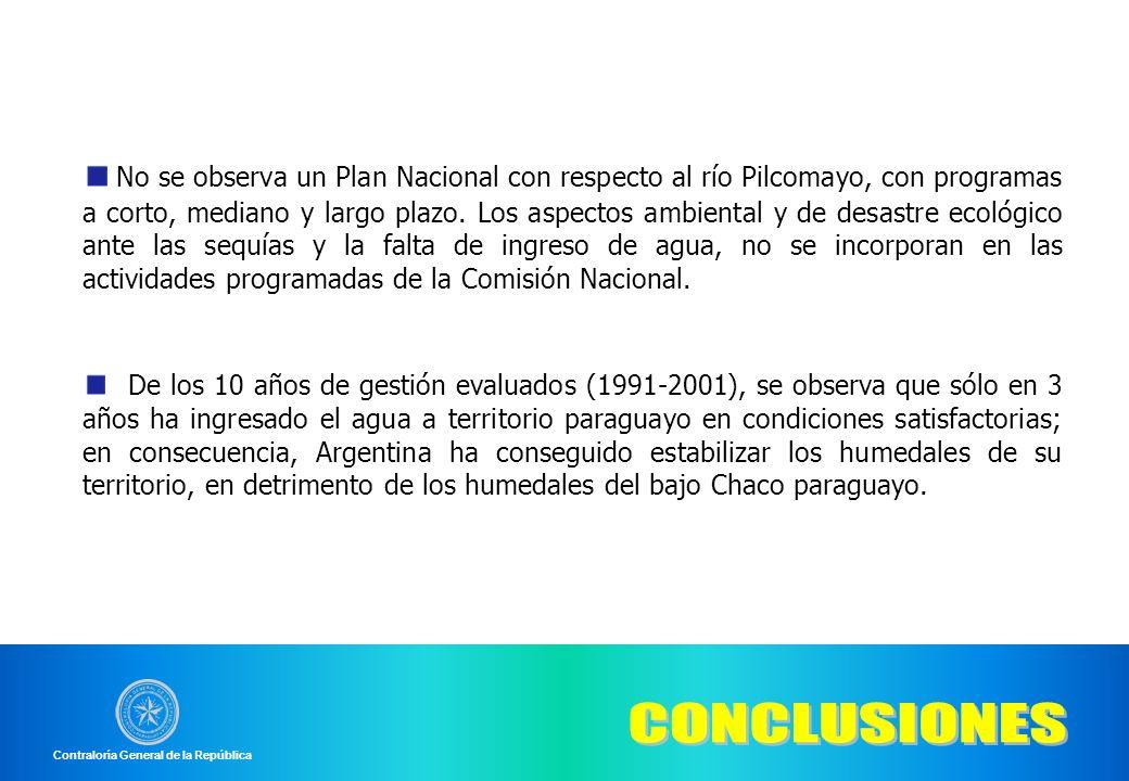 No se observa un Plan Nacional con respecto al río Pilcomayo, con programas a corto, mediano y largo plazo. Los aspectos ambiental y de desastre ecoló