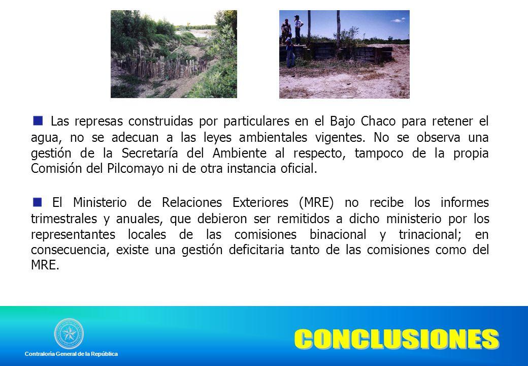 Las represas construidas por particulares en el Bajo Chaco para retener el agua, no se adecuan a las leyes ambientales vigentes. No se observa una ges