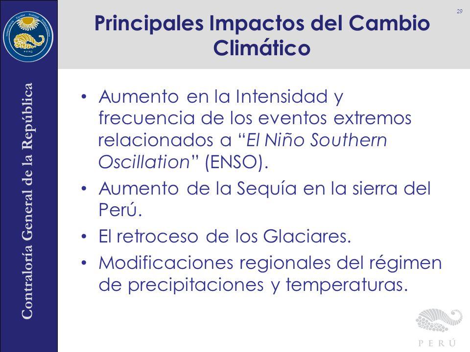 Contraloría General de la República Aumento en la Intensidad y frecuencia de los eventos extremos relacionados a El Niño Southern Oscillation (ENSO).
