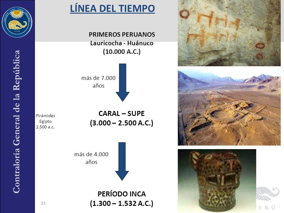 Contraloría General de la República 33 CARAL – SUPE (3.000 – 2.500 A.C.) PERÍODO INCA (1.300 – 1.532 A.C.) más de 4.000 años más de 7.000 años PRIMERO