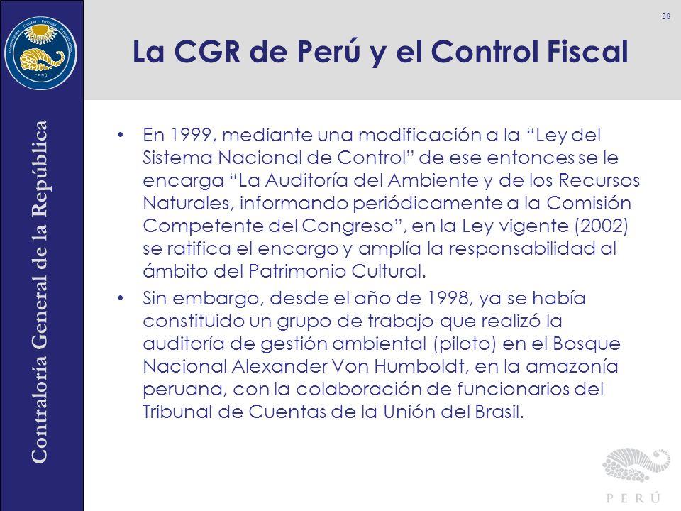 Contraloría General de la República En 1999, mediante una modificación a la Ley del Sistema Nacional de Control de ese entonces se le encarga La Audit