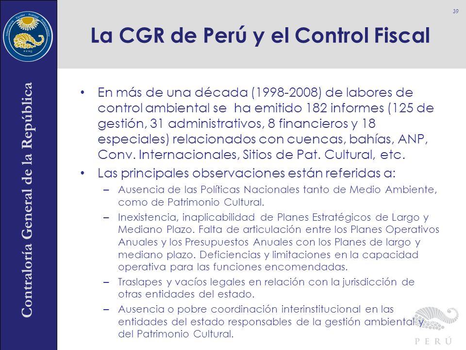 Contraloría General de la República En más de una década (1998-2008) de labores de control ambiental se ha emitido 182 informes (125 de gestión, 31 ad