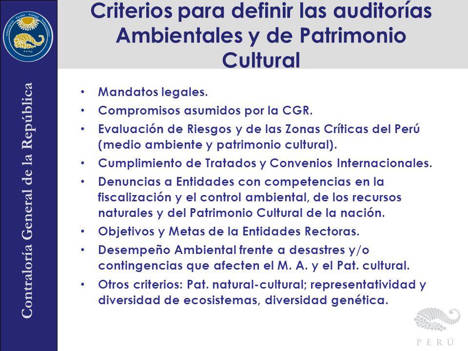 Contraloría General de la República Mandatos legales. Compromisos asumidos por la CGR. Evaluación de Riesgos y de las Zonas Críticas del Perú (medio a