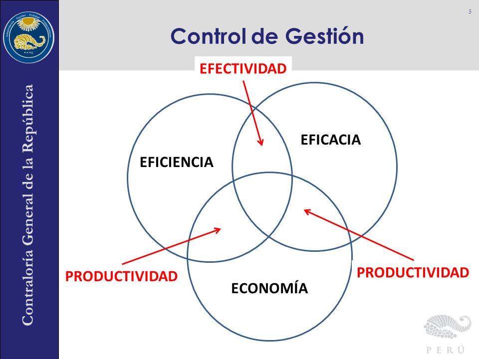 Contraloría General de la República Control de Gestión 5 EFICIENCIA EFICACIA ECONOMÍA EFECTIVIDAD PRODUCTIVIDAD