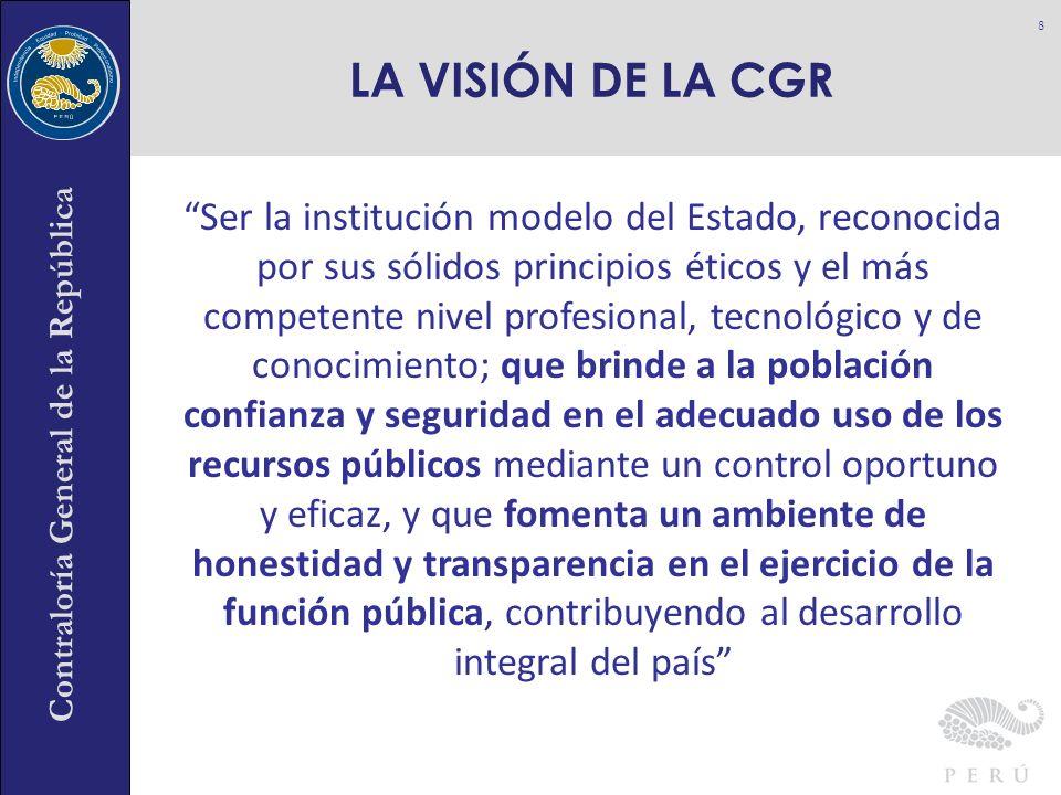 Contraloría General de la República Ser la institución modelo del Estado, reconocida por sus sólidos principios éticos y el más competente nivel profe