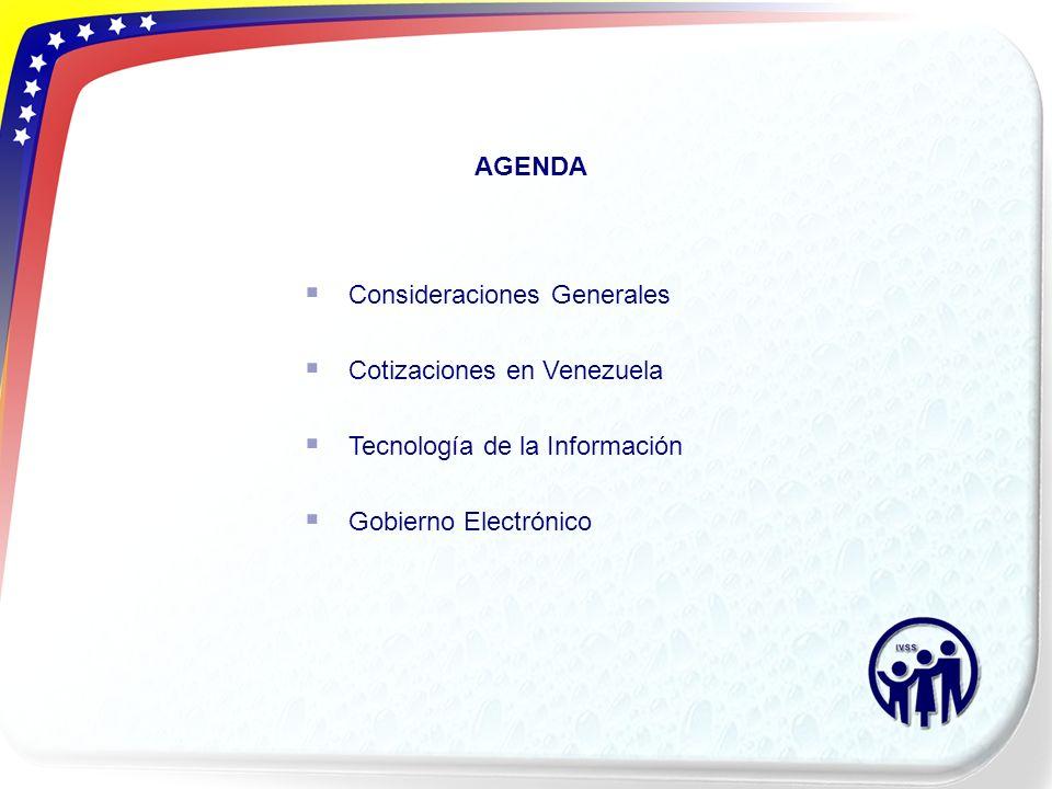AGENDA Consideraciones Generales Cotizaciones en Venezuela Tecnología de la Información Gobierno Electrónico