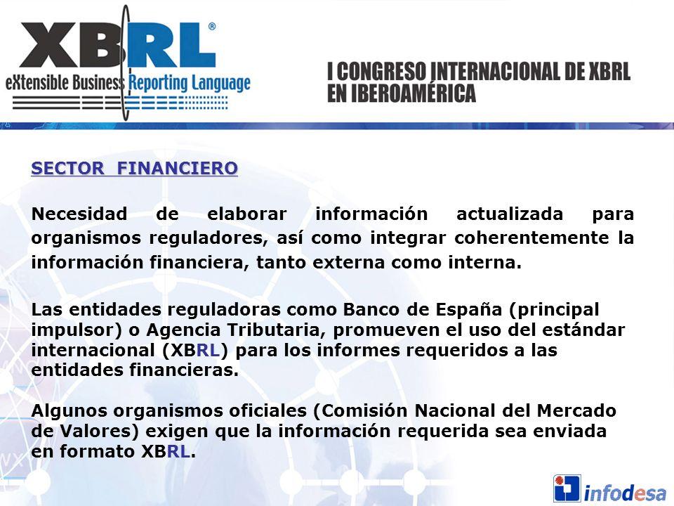 SECTOR FINANCIERO Necesidad de elaborar información actualizada para organismos reguladores, así como integrar coherentemente la información financier