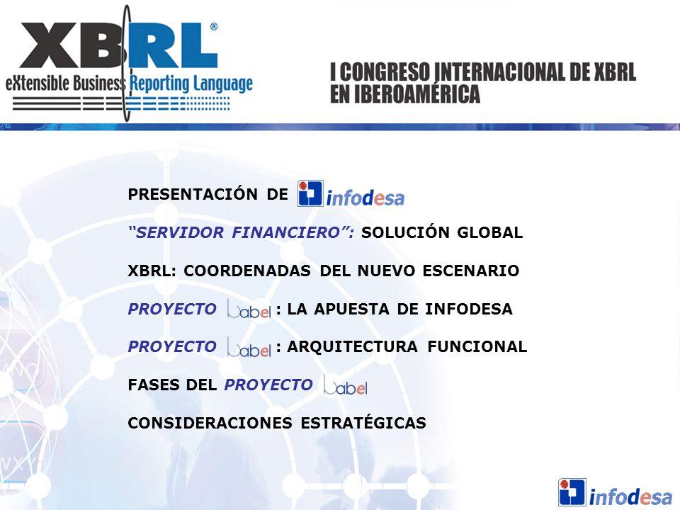 PRESENTACIÓN DE SERVIDOR FINANCIERO: SOLUCIÓN GLOBAL XBRL: COORDENADAS DEL NUEVO ESCENARIO PROYECTO : LA APUESTA DE INFODESA PROYECTO : ARQUITECTURA F
