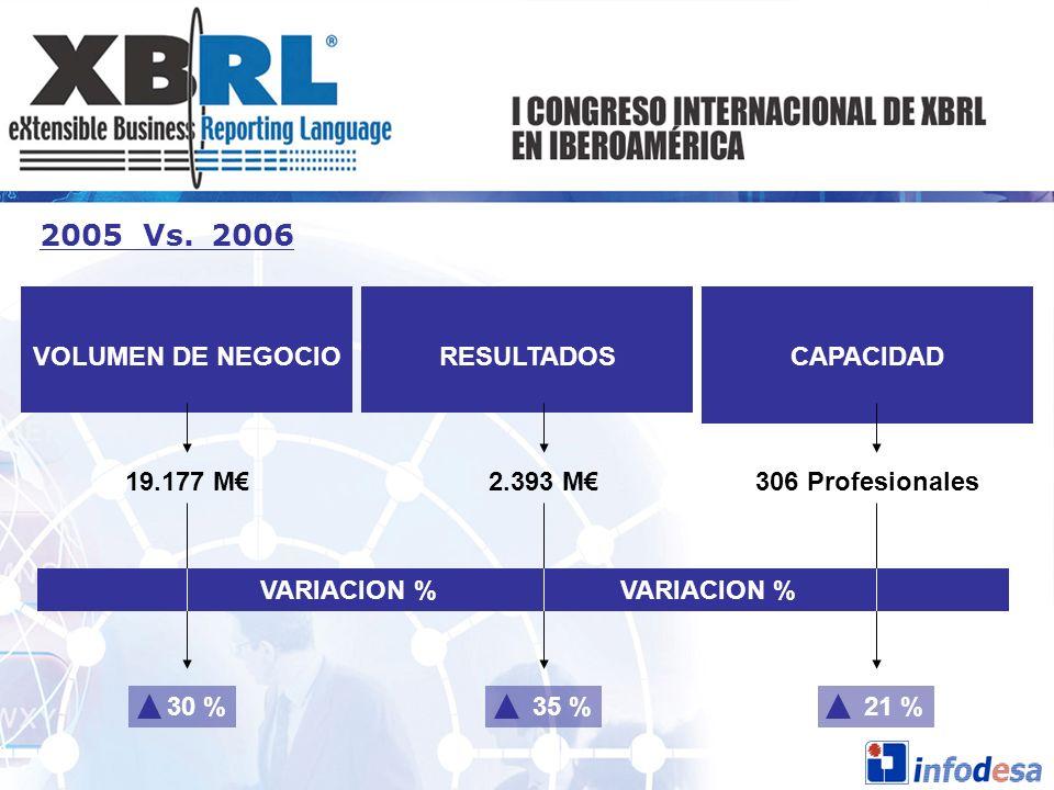 2005 Vs. 2006 VOLUMEN DE NEGOCIOCAPACIDADRESULTADOS 19.177 M2.393 M306 Profesionales VARIACION % VARIACION % 30 %35 %21 %