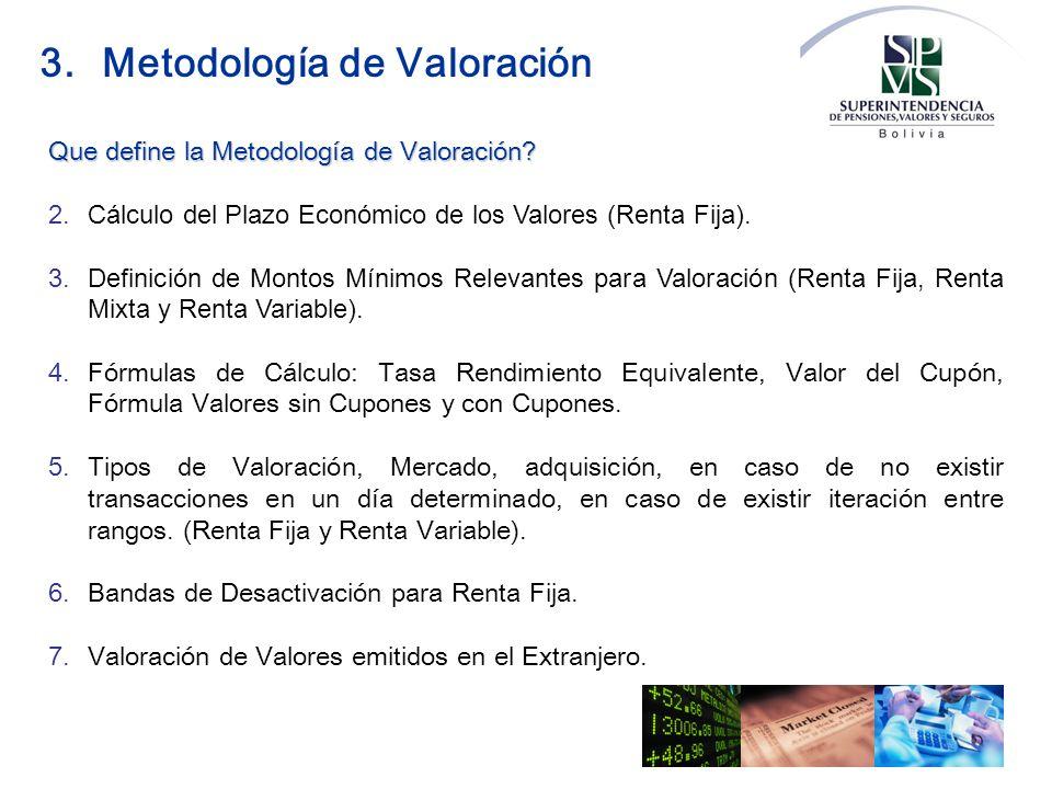 Que define la Metodología de Valoración? 2.Cálculo del Plazo Económico de los Valores (Renta Fija). 3.Definición de Montos Mínimos Relevantes para Val