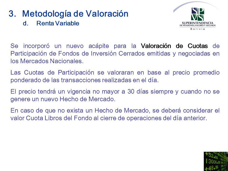 Valoración de Cuotas Se incorporó un nuevo acápite para la Valoración de Cuotas de Participación de Fondos de Inversión Cerrados emitidas y negociadas