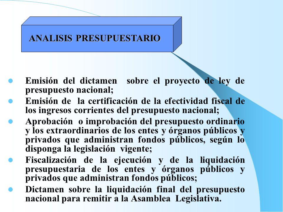 Emisión del dictamen sobre el proyecto de ley de presupuesto nacional; Emisión de la certificación de la efectividad fiscal de los ingresos corrientes