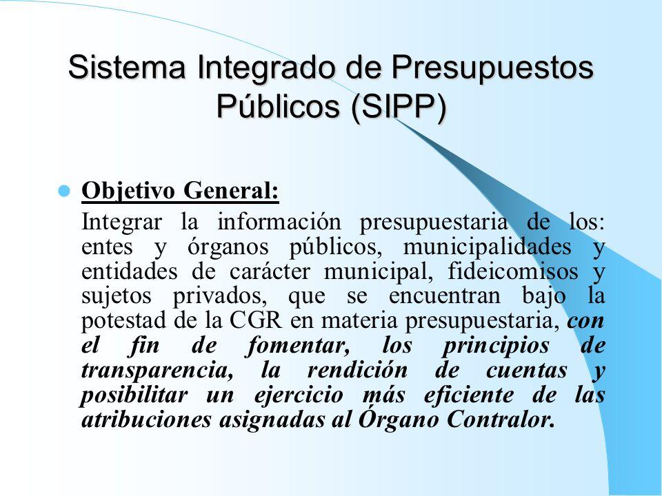 Sistema Integrado de Presupuestos Públicos (SIPP) Objetivo General: Integrar la información presupuestaria de los: entes y órganos públicos, municipal