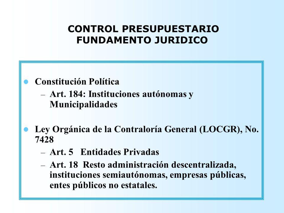 Constitución Política – Art. 184: Instituciones autónomas y Municipalidades Ley Orgánica de la Contraloría General (LOCGR), No. 7428 – Art. 5 Entidade