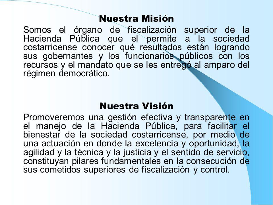 Nuestra Misión Somos el órgano de fiscalización superior de la Hacienda Pública que el permite a la sociedad costarricense conocer qué resultados está