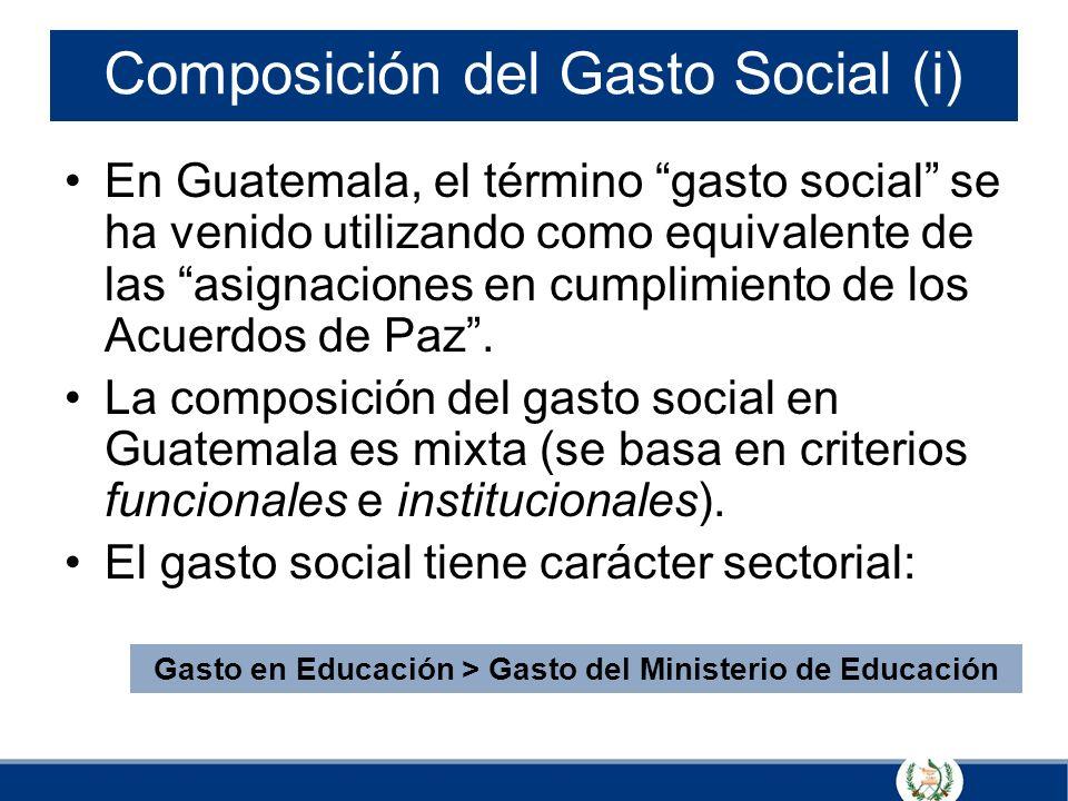 Composición del Gasto Social (i) En Guatemala, el término gasto social se ha venido utilizando como equivalente de las asignaciones en cumplimiento de