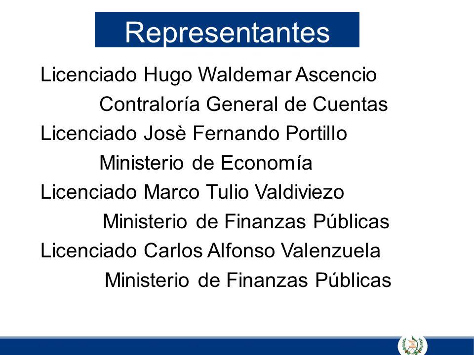 Licenciado Hugo Waldemar Ascencio Contraloría General de Cuentas Licenciado Josè Fernando Portillo Ministerio de Economía Licenciado Marco Tulio Valdi