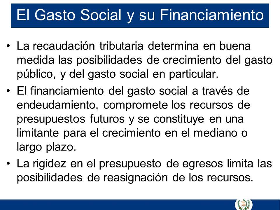 El Gasto Social y su Financiamiento La recaudación tributaria determina en buena medida las posibilidades de crecimiento del gasto público, y del gast