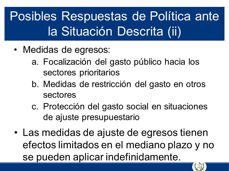 Posibles Respuestas de Política ante la Situación Descrita (ii) Medidas de egresos: a.Focalización del gasto público hacia los sectores prioritarios b