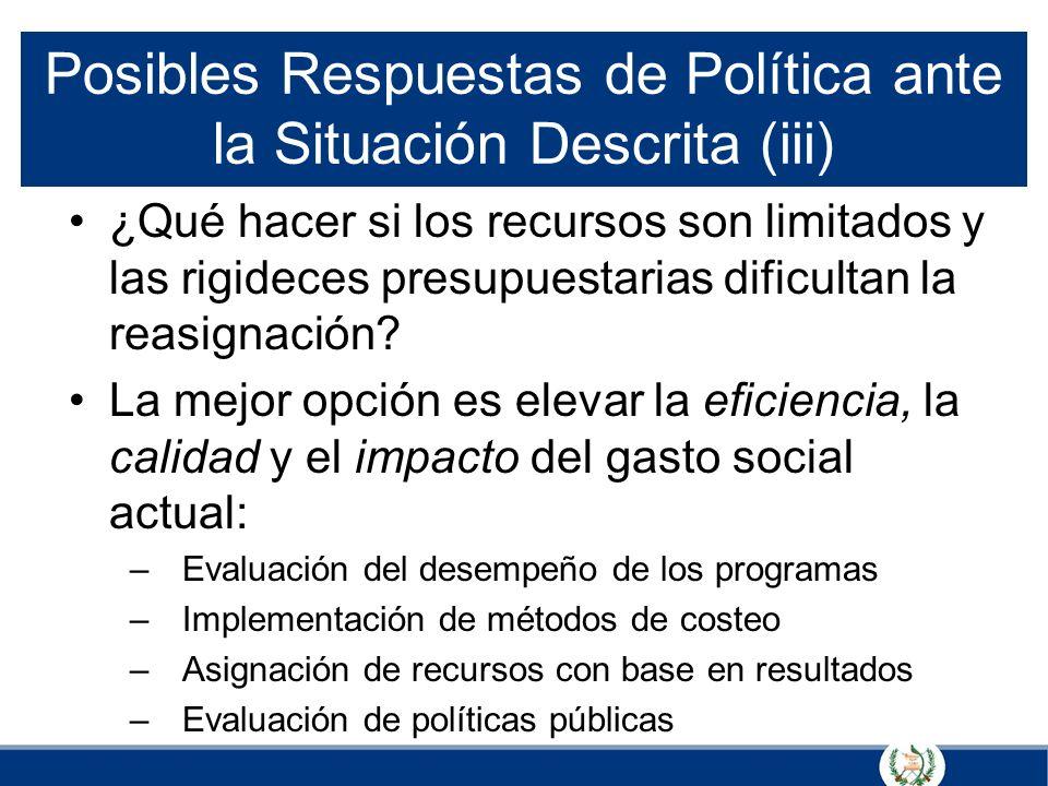 Posibles Respuestas de Política ante la Situación Descrita (iii) ¿Qué hacer si los recursos son limitados y las rigideces presupuestarias dificultan l