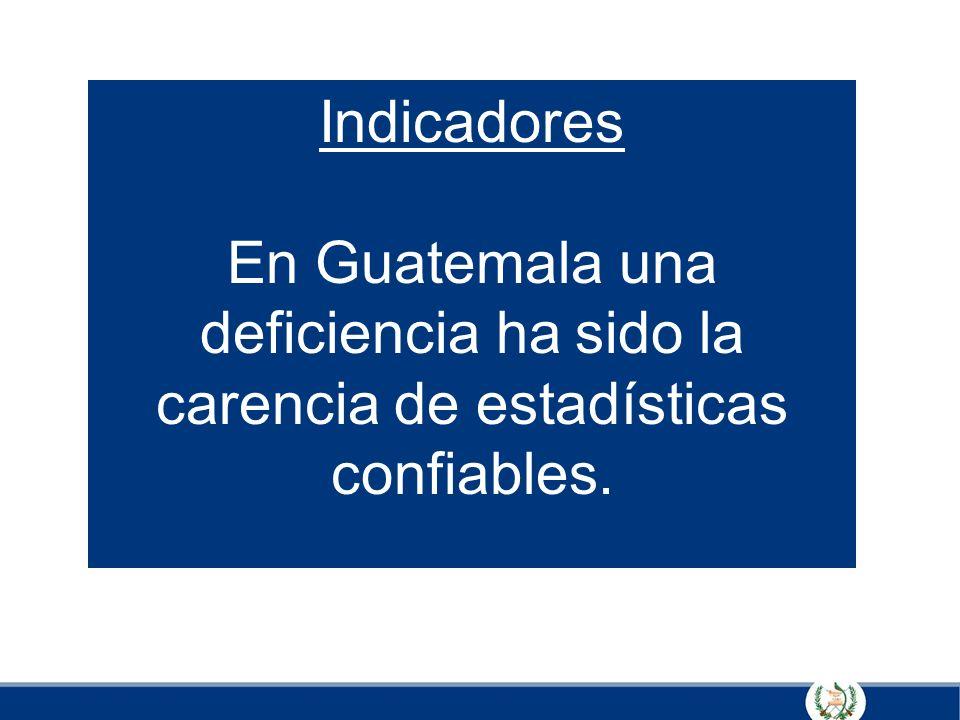 Indicadores En Guatemala una deficiencia ha sido la carencia de estadísticas confiables.