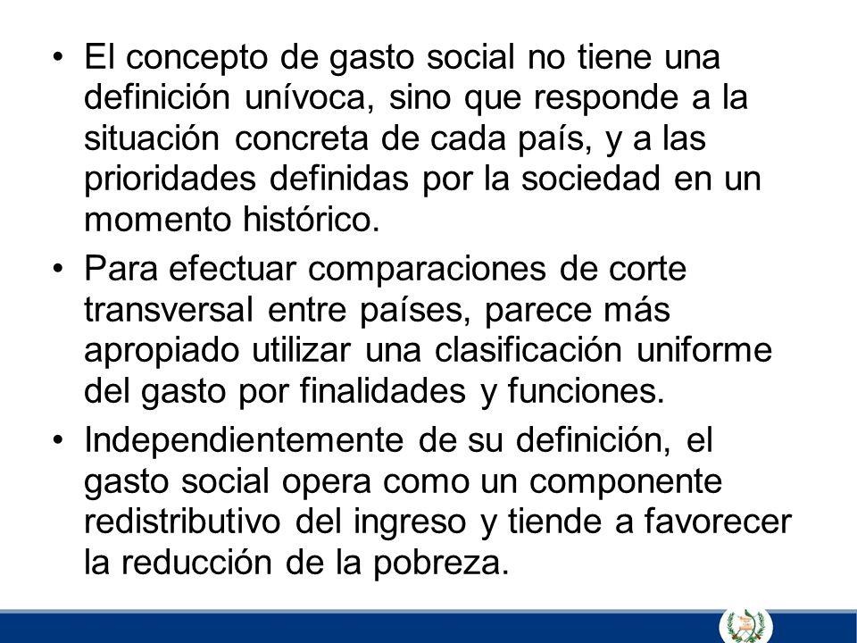 El concepto de gasto social no tiene una definición unívoca, sino que responde a la situación concreta de cada país, y a las prioridades definidas por