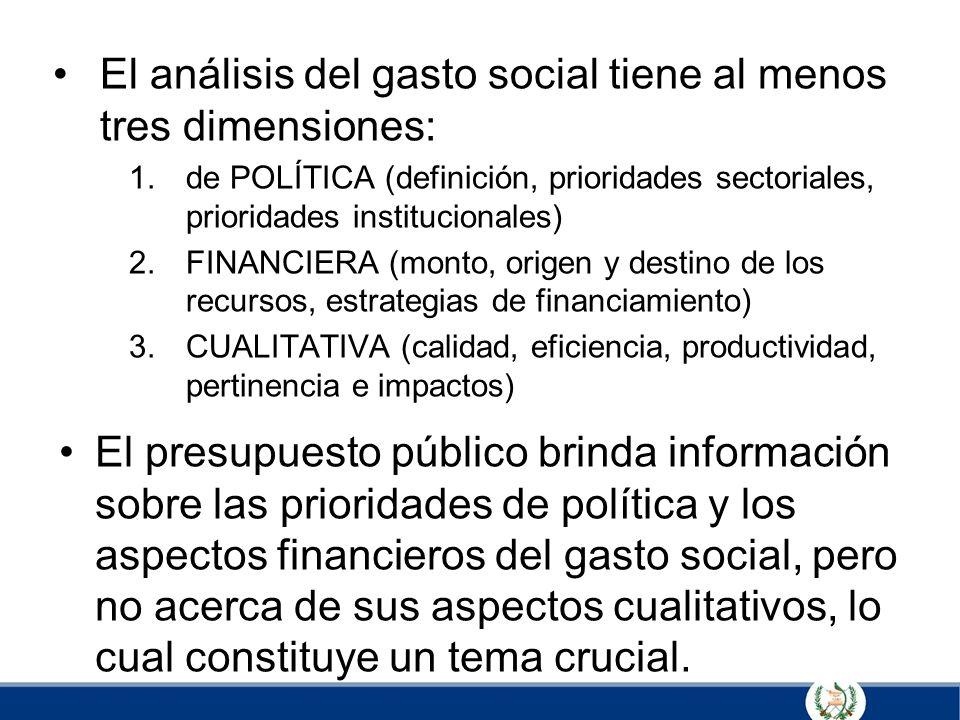 El análisis del gasto social tiene al menos tres dimensiones: 1.de POLÍTICA (definición, prioridades sectoriales, prioridades institucionales) 2.FINAN