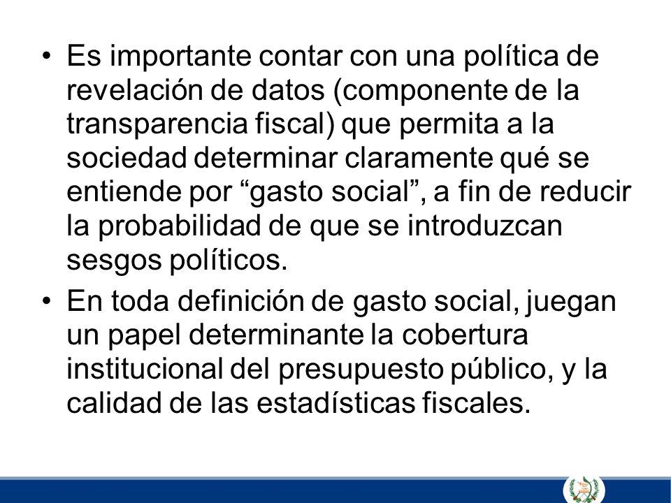 Es importante contar con una política de revelación de datos (componente de la transparencia fiscal) que permita a la sociedad determinar claramente q
