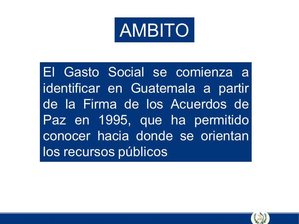 AMBITO El Gasto Social se comienza a identificar en Guatemala a partir de la Firma de los Acuerdos de Paz en 1995, que ha permitido conocer hacia dond