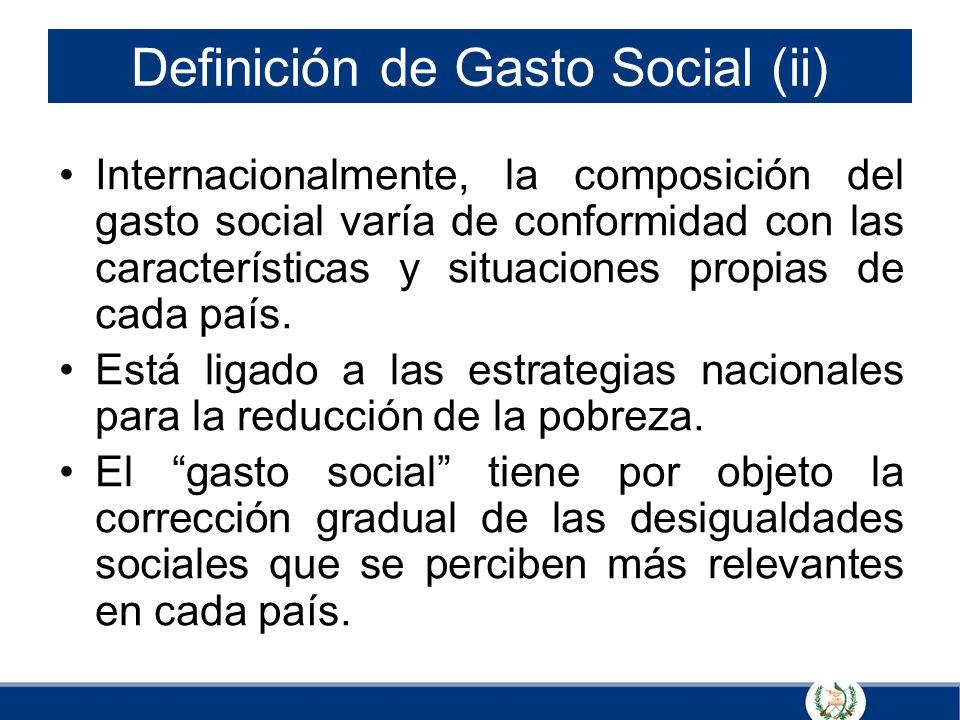 Definición de Gasto Social (ii) Internacionalmente, la composición del gasto social varía de conformidad con las características y situaciones propias