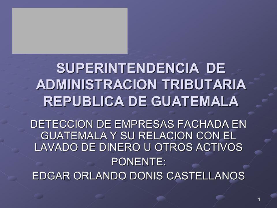 1 SUPERINTENDENCIA DE ADMINISTRACION TRIBUTARIA REPUBLICA DE GUATEMALA DETECCION DE EMPRESAS FACHADA EN GUATEMALA Y SU RELACION CON EL LAVADO DE DINER