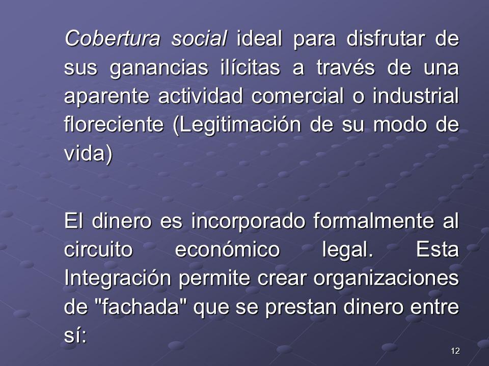 12 Cobertura social ideal para disfrutar de sus ganancias ilícitas a través de una aparente actividad comercial o industrial floreciente (Legitimación