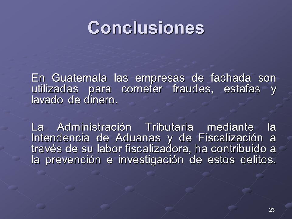 23 Conclusiones En Guatemala las empresas de fachada son utilizadas para cometer fraudes, estafas y lavado de dinero. La Administración Tributaria med