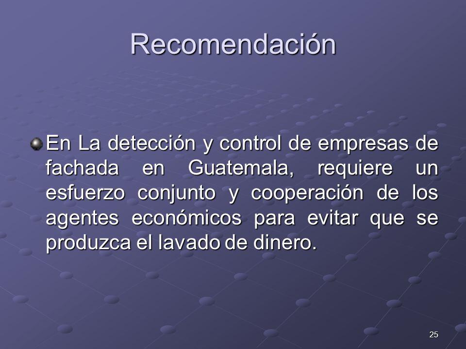 25 Recomendación En La detección y control de empresas de fachada en Guatemala, requiere un esfuerzo conjunto y cooperación de los agentes económicos