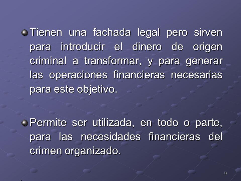 9 Tienen una fachada legal pero sirven para introducir el dinero de origen criminal a transformar, y para generar las operaciones financieras necesari