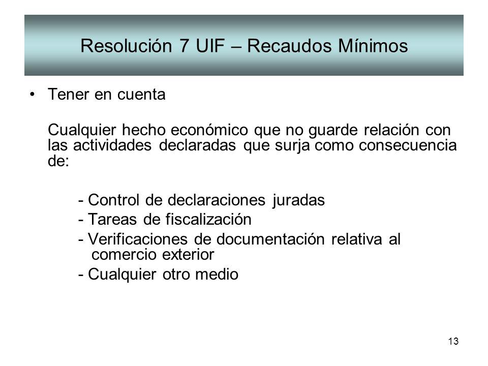 13 Resolución 7 UIF – Recaudos Mínimos Tener en cuenta Cualquier hecho económico que no guarde relación con las actividades declaradas que surja como
