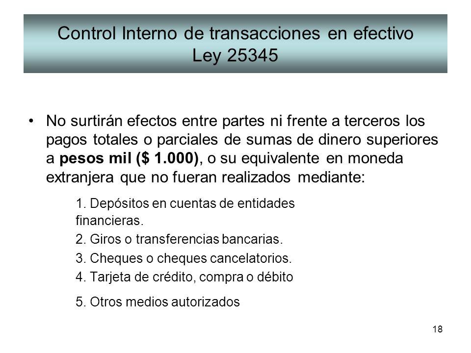 18 Control Interno de transacciones en efectivo Ley 25345 No surtirán efectos entre partes ni frente a terceros los pagos totales o parciales de sumas