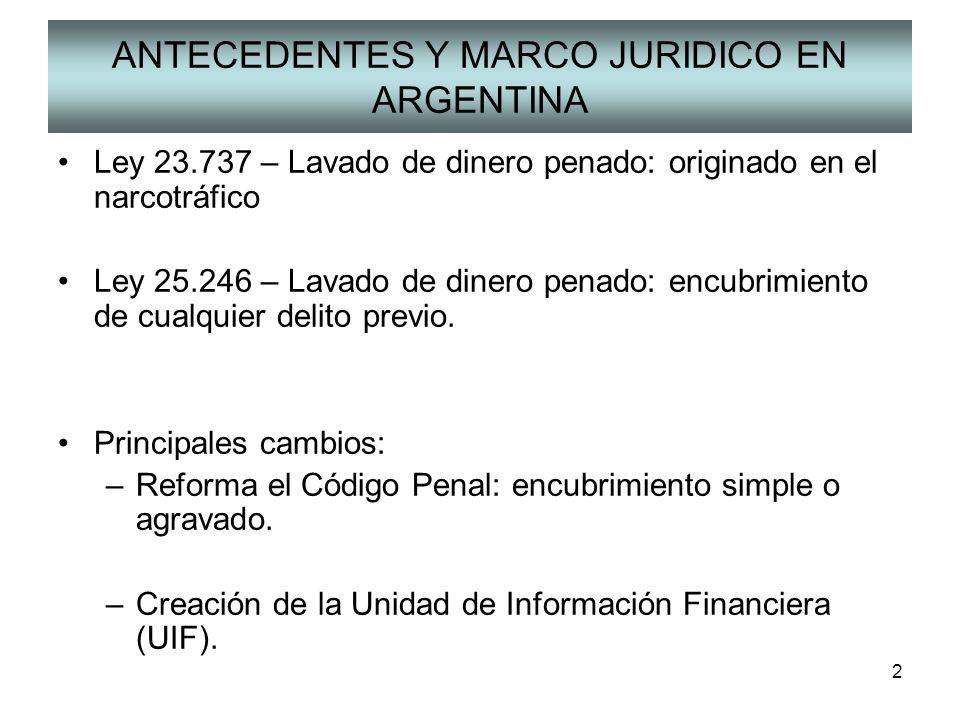 2 ANTECEDENTES Y MARCO JURIDICO EN ARGENTINA Ley 23.737 – Lavado de dinero penado: originado en el narcotráfico Ley 25.246 – Lavado de dinero penado: