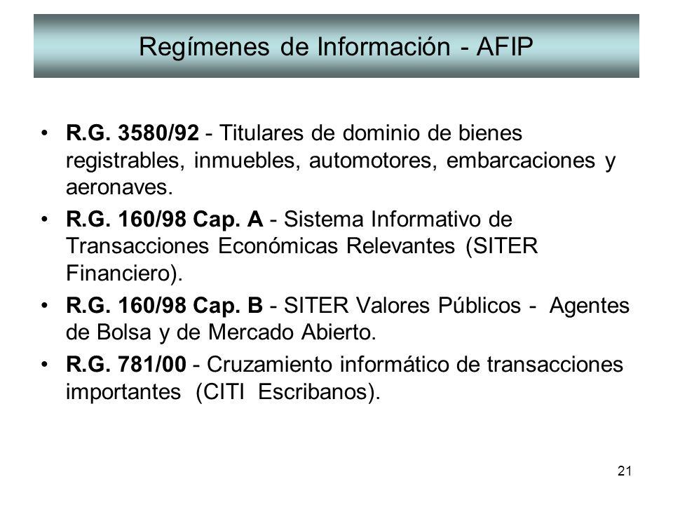 21 Regímenes de Información - AFIP R.G. 3580/92 - Titulares de dominio de bienes registrables, inmuebles, automotores, embarcaciones y aeronaves. R.G.