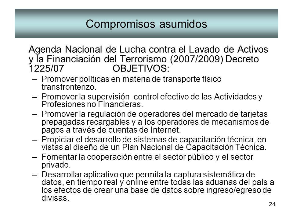 24 Compromisos asumidos Agenda Nacional de Lucha contra el Lavado de Activos y la Financiación del Terrorismo (2007/2009) Decreto 1225/07 OBJETIVOS: –