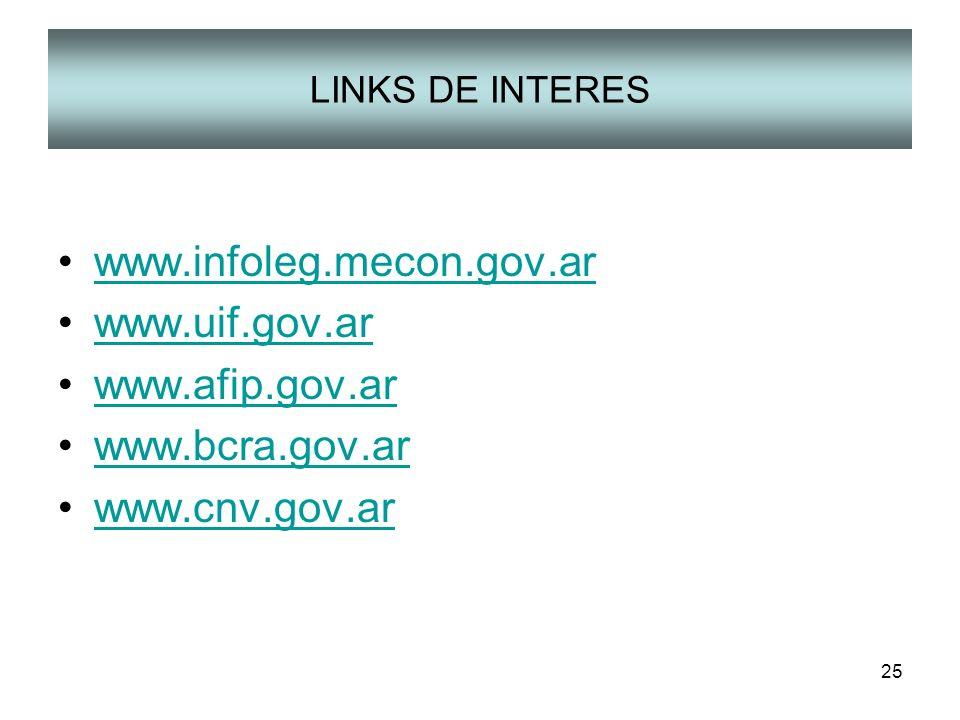 25 LINKS DE INTERES www.infoleg.mecon.gov.ar www.uif.gov.ar www.afip.gov.ar www.bcra.gov.ar www.cnv.gov.ar