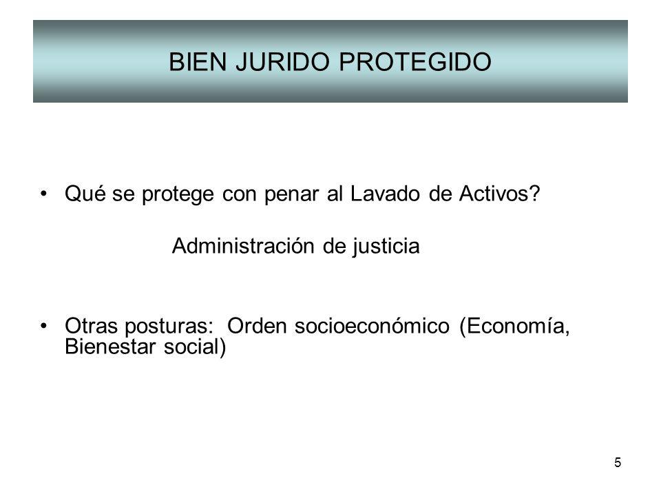 5 BIEN JURIDO PROTEGIDO Qué se protege con penar al Lavado de Activos? Administración de justicia Otras posturas: Orden socioeconómico (Economía, Bien