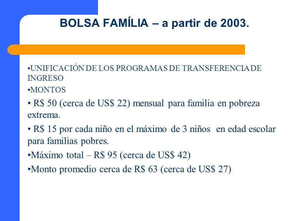 BOLSA FAMÍLIA – a partir de 2003. UNIFICACIÓN DE LOS PROGRAMAS DE TRANSFERENCIA DE INGRESO MONTOS R$ 50 (cerca de US$ 22) mensual para familia en pobr