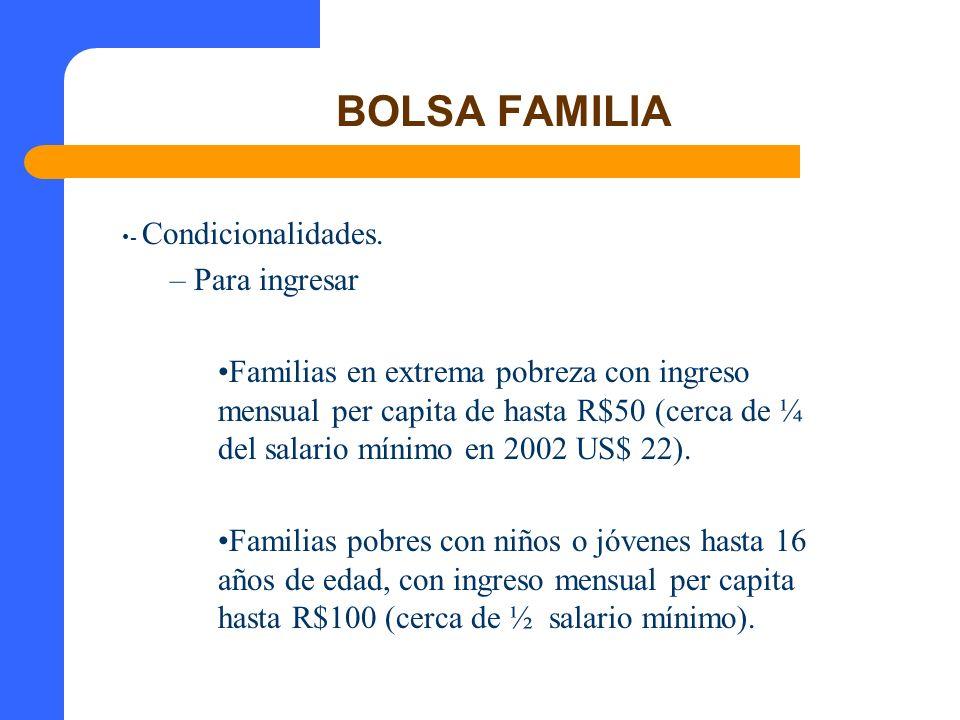 BOLSA FAMILIA - Condicionalidades. – Para ingresar Familias en extrema pobreza con ingreso mensual per capita de hasta R$50 (cerca de ¼ del salario mí