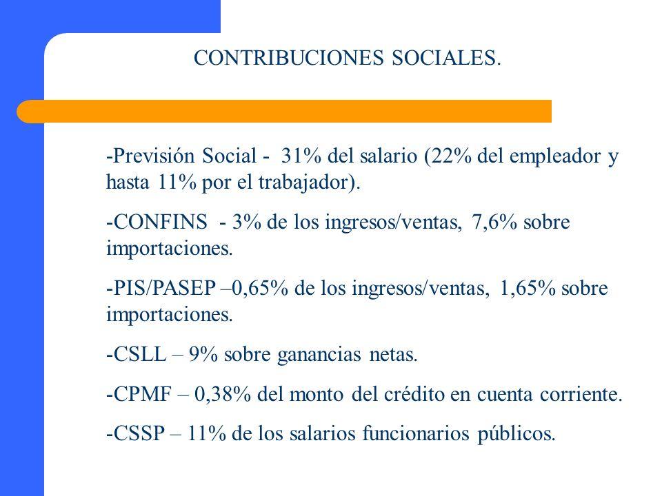 CONTRIBUCIONES SOCIALES. -Previsión Social - 31% del salario (22% del empleador y hasta 11% por el trabajador). -CONFINS - 3% de los ingresos/ventas,